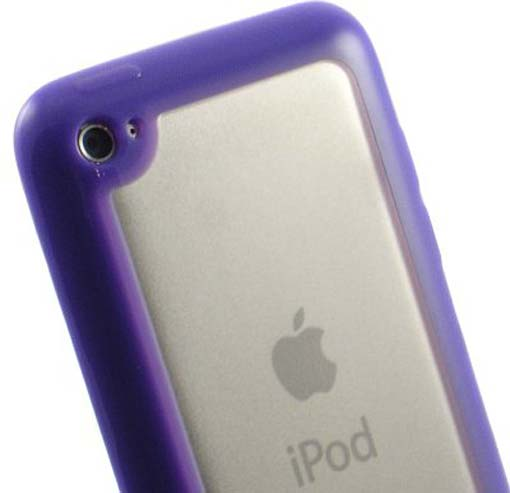NEW PURPLE CLEAR TPU GUMMY SKIN HARD/SOFT CASE FOR APPLE iPOD TOUCH 4 4G 4TH GEN