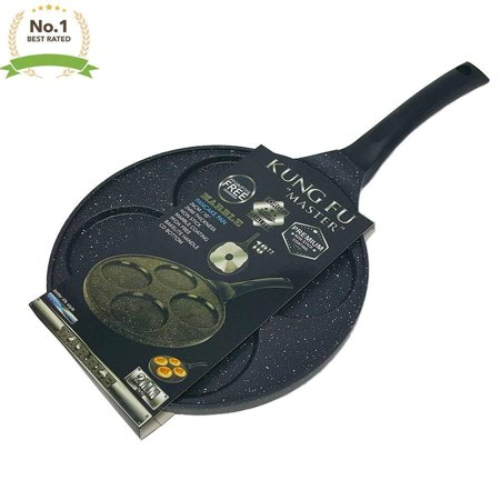 Heavy Duty Premium 10 Inch Nonstick PFOA Free Marble Pancake Fried Egg & Blini Pan with Bakelite
