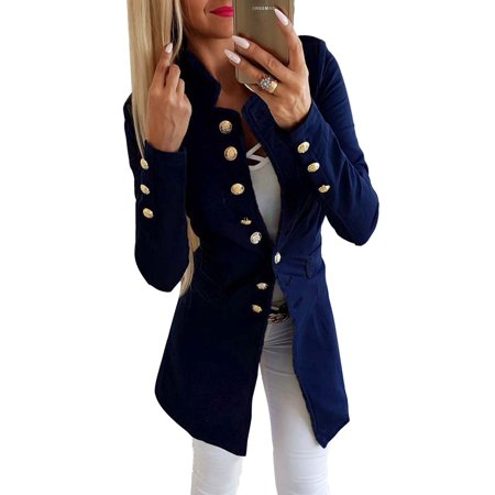 Work Blazer Jackets Women Buttons Open Front Cardigan Long Sleeve Office Coat Suit Outwear Double Breasted Casual Tops