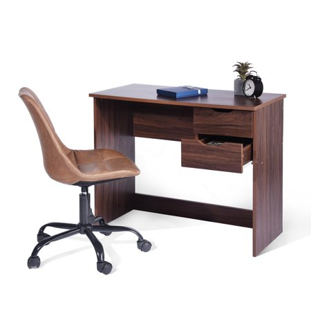 Aingoo Brown Computer Desk Writing Study Table with 2 Side Drawers Classic Home Office Laptop Desk Brown Wood Notebook Table