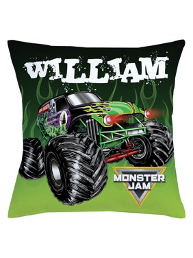 Personalized Monster Jam Grave Digger Throw Pillow, Black