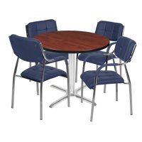 "Via 36"" Round X-Base Table- Cherry/Chrome & 4 Uptown Side Chairs- Navy"