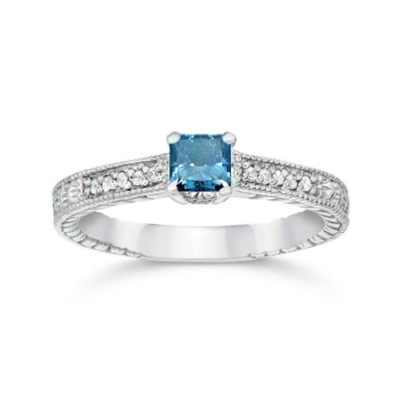 - 1/2ct Princess Cut Antique Treated Blue Diamond Engagement Ring White Gold