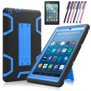 Mignova case for the new Amazon Fire HD 8 tablet (7th and 8th generation, released 2017/2018) - Heavy duty hybrid case with built-in Kickstand+ screen protector and stylus (Black / Indigo Blue)