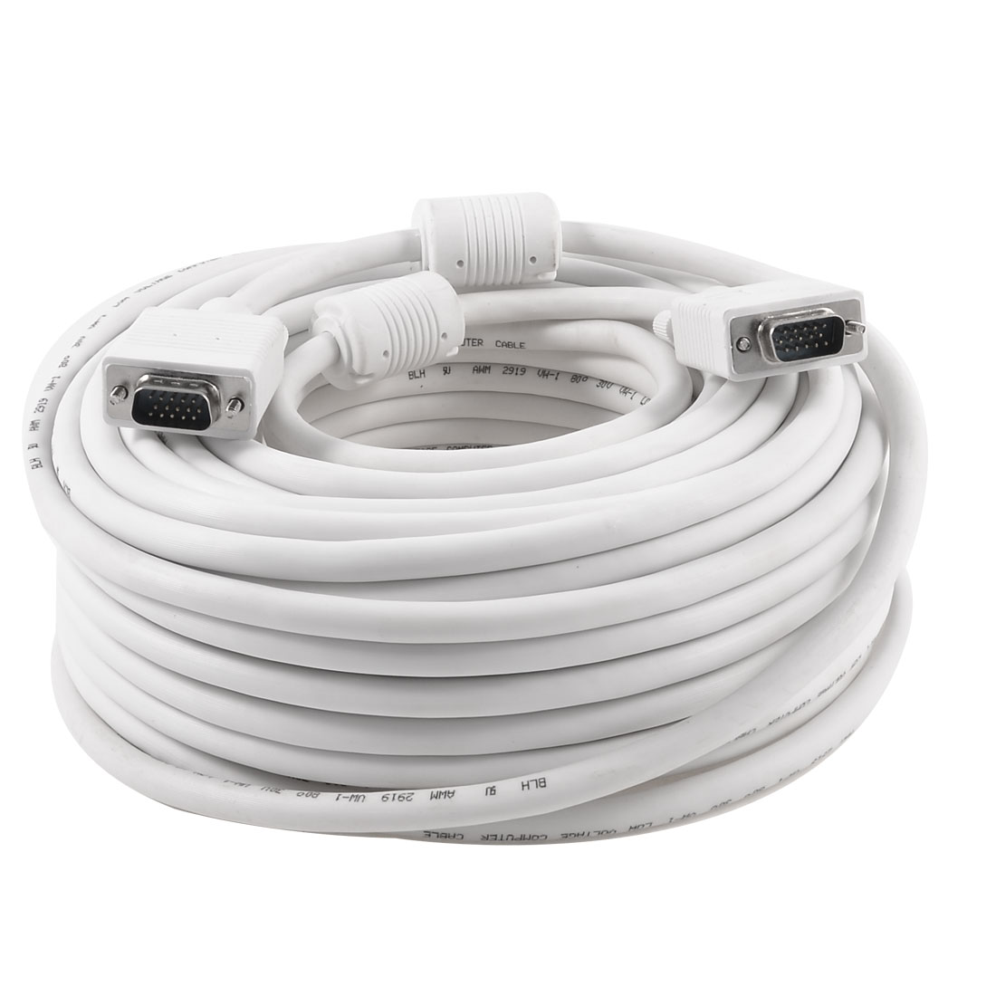 30 Meter 32.8Ft White 15 Pin VGA Male to Male Cable Cord Adapter for PC