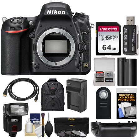 Nikon D750 Digital SLR Camera Body with 64GB Card + Case + Flash + Battery + Charger + Grip + Remote + Kit