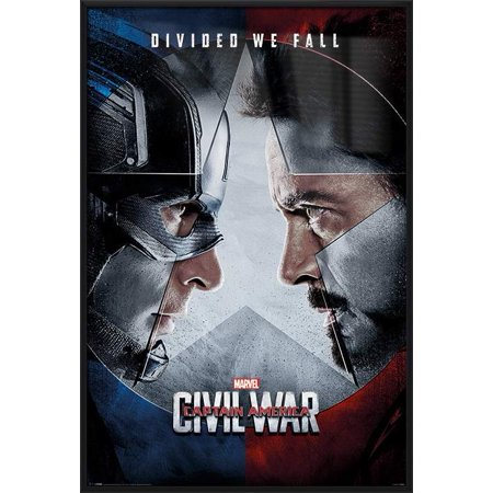 Captain America 3: Civil War - Framed Marvel Movie Poster / Print (Regular Style - Divided We Fall) (Size: 24