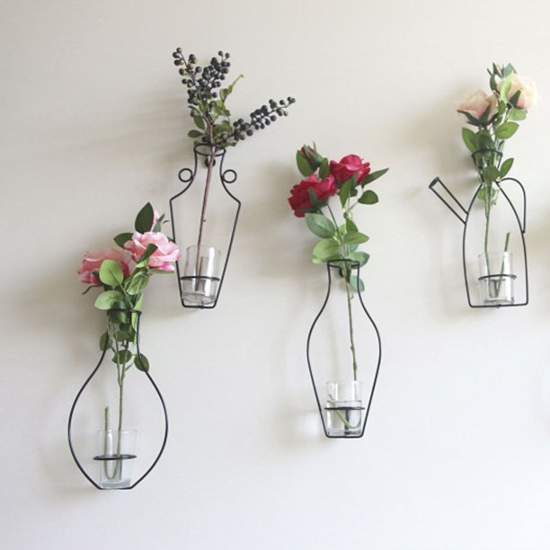 Iron Wall Hanging Vase Shelf Flower Holder Stand Home Office Modern Style Not Include Glass And Plants Walmart Com Walmart Com