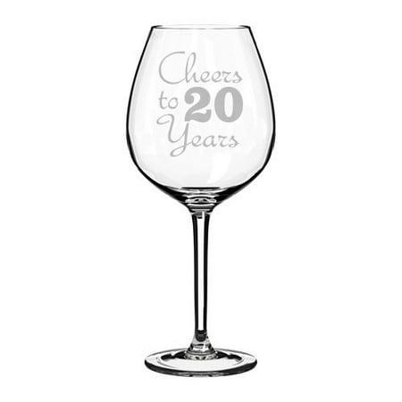 Cheers Cordial Glass - Wine Glass Goblet Cheers To 20 Years Anniversary (20oz Jumbo)