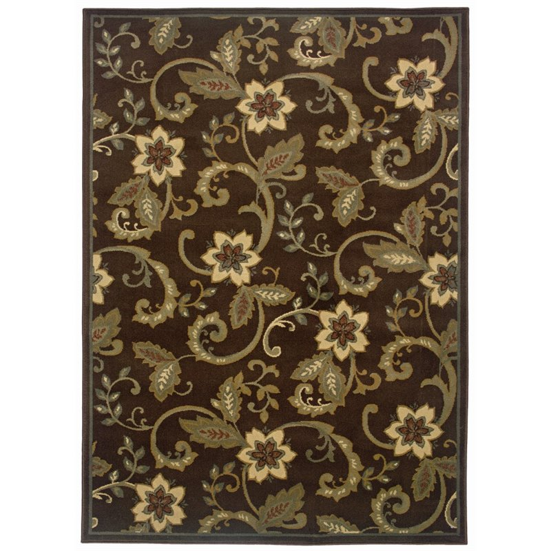 "Oriental Weavers Amelia 2'6"" x 4'5"" Machine Woven Rug in Brown"