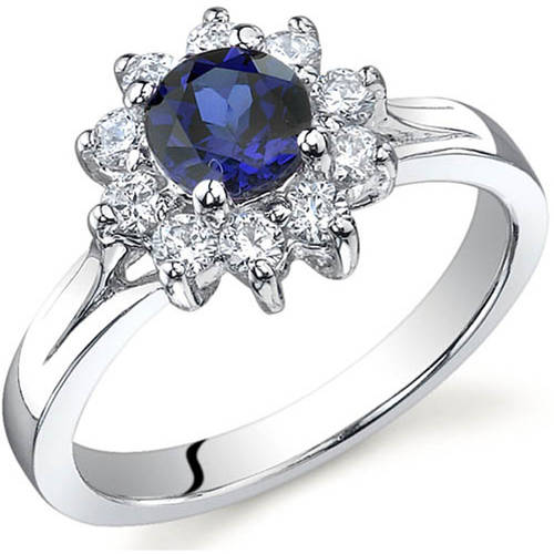 Oravo 0.75 Carat T.G.W. Created Blue Sapphire Rhodium-Plated Sterling Silver Engagement Ring