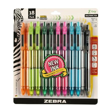 Zebra Pen Z-Grip retractable ballpoint pen, 1.0mm, bonus Sarasa Dry X20 pen, assorted ink colors, 18-pack