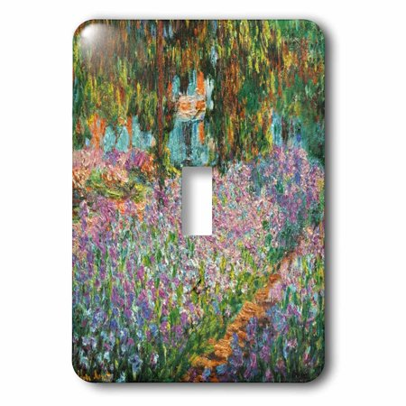 - 3dRose Print of Monet Painting Irises In Garden, Double Toggle Switch