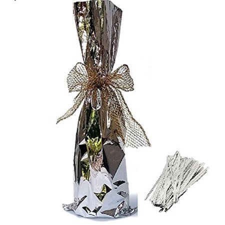 "20 / Tall Wine Bags / Twist tie, Metallic Mylar Bottle size 6-1/2"" X 18"" - ( SILVER )"