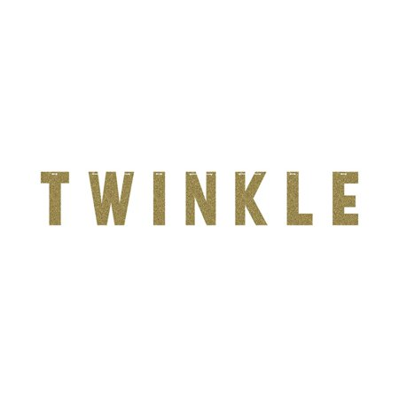 """Pack of 6 Gold """"Twinkle"""" Letter Decorative Party Banners with Glitters 8.2"""" for $<!---->"""
