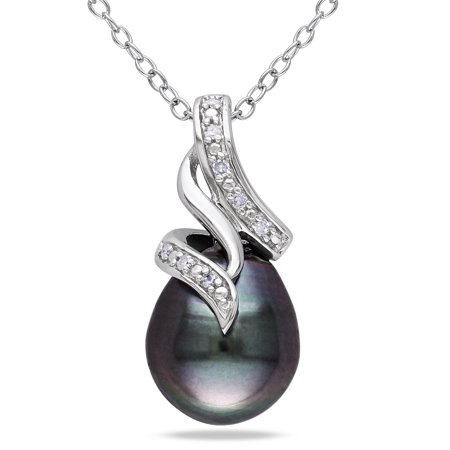 Sterling Silver Tahitian Pearl and Diamond Twist Drop Necklace (9-9.5 mm) ()