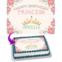 "Happy Birthday Princess Edible Cake Image Topper Personalized Picture 1/4 Sheet (8""x10.5"")"