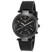 16175Sm-Bb-01 Madison Diamond Multi-Function Black Silicone, Dial And Case Watch