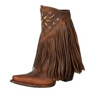 Lane Western Boots Women Fringelt Metal Studs Leather Chestnut LB0261A