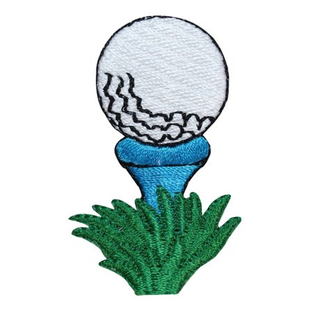 ID 1595C Golf Ball On Tee Patch Teal Green Drive Embroidered Iron On - Light Golf Balls