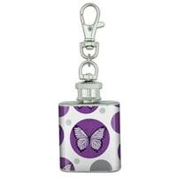 Butterfly Artsy Purple Stainless Steel 1oz Mini Flask Key Chain