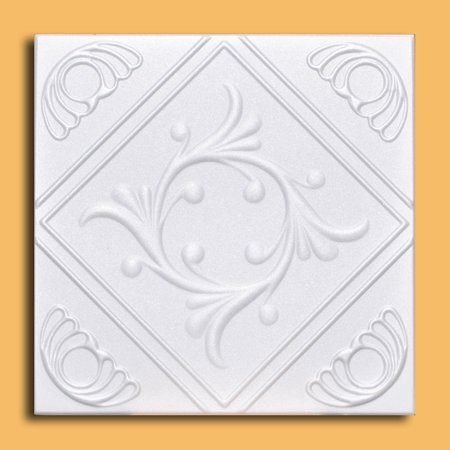 White Styrofoam Ceiling Tile Anet (Case of 40 Tiles) - same as Diamond Wreath and (Reveal Edge Cutter For Ceiling Tile Installation)