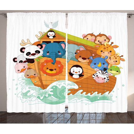 Noah 39 S Ark Decor Curtains 2 Panels Set Cute Graphic Print Of Noah 39 S With Mythical Animals In