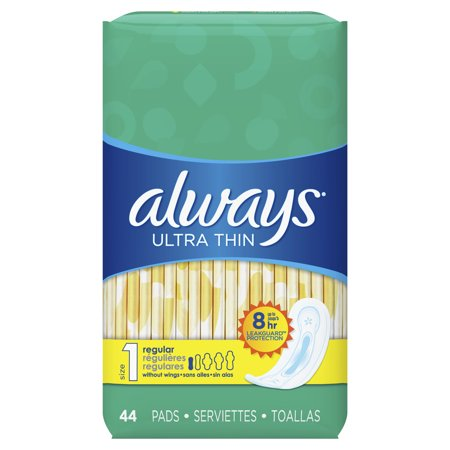 Always Ultra Thin, Size 1, Regular Pads Wingless, Unscented, 44 Ct