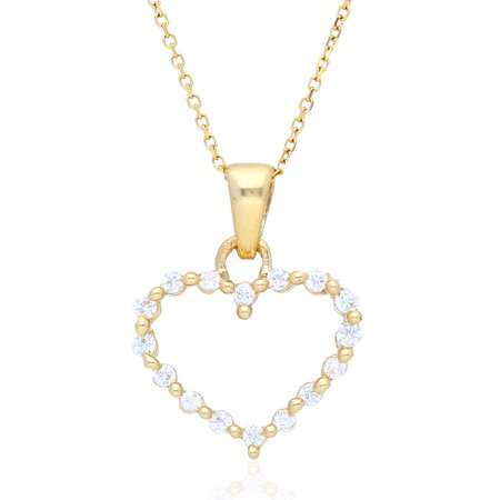 """14k Yellow Gold Created Diamond Open Heart Pendant With Cable Link Chain 16-18"""""""