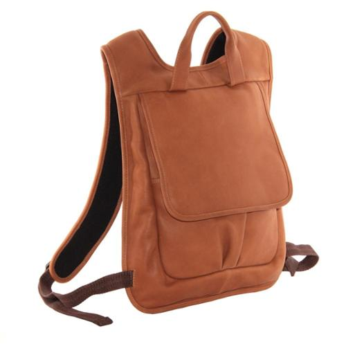 Piel Leather Slim Laptop Flap Backpack Toffee