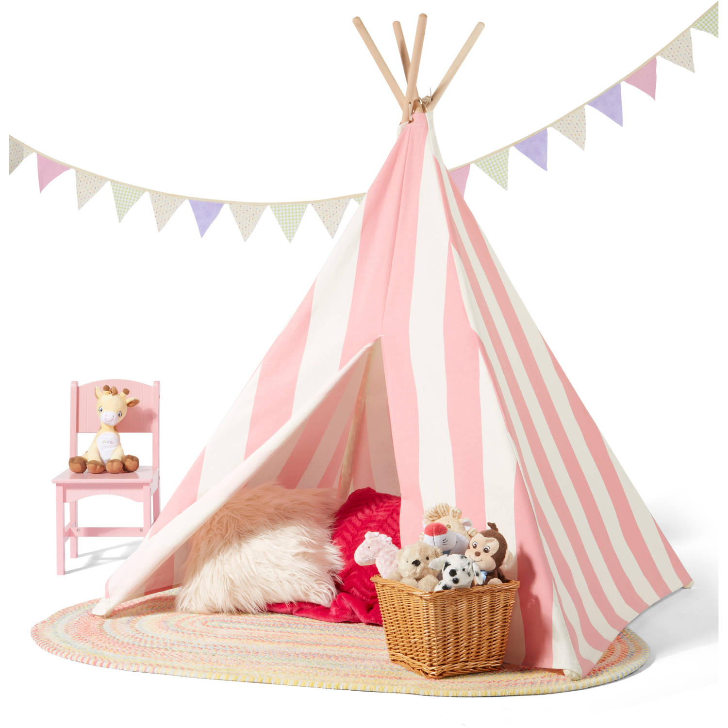 Children's Teepee Tent, Pink/White Stripes