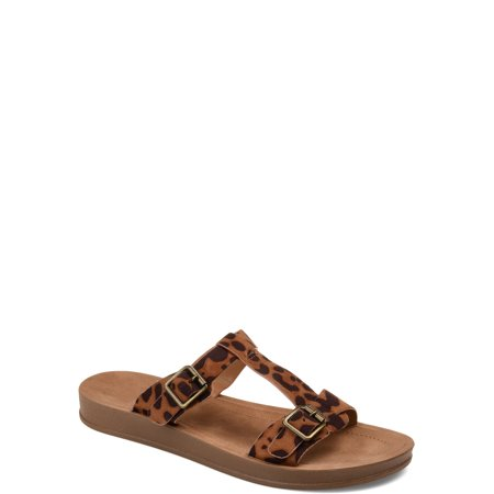 Brinley Co. Womens Double Buckle Flat Sandal