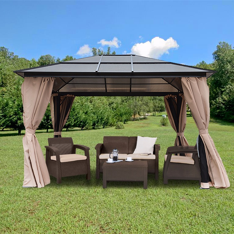 10'x12' Outdoor Backyard Patio Gazebo Polycarbonate Patio Garden Aluminum Poles w Panel Roof Heavy Duty