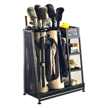 Suncast Metal Complete Golf Bag Organizer for Garage with 3 Shelves and Deep Bin