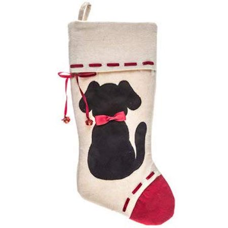 Dog Silhouette Canvas Stocking Christmas Fireplace Mantel - Christmas Mantel Decorations