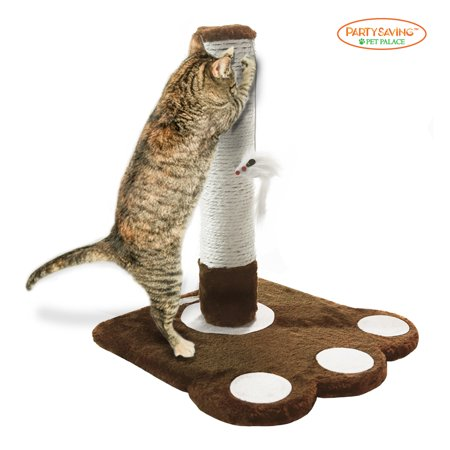 PET PALACE Cat Claw Scratching Sisal Post for Kittens and Cats with Toy Mouse Brown ,