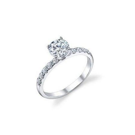 Harry Chad Enterprises 32065 1.50 CT Solitaire with Accent Diamonds Engagement Ring - 14K White Gold - image 1 de 1