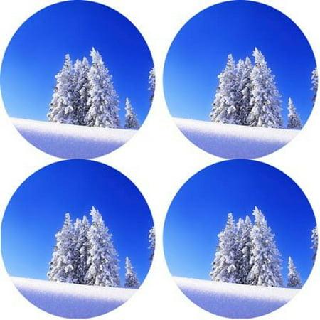 Snow scenery winter Rubber Round Coaster set (4 pack) Great Gift Idea - Winter Halloween Costume Ideas