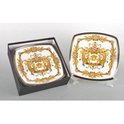 "Euro Porcelain 10"" White Square Dinner Plates Greek Key Medusa 24K Gold Set of 6"