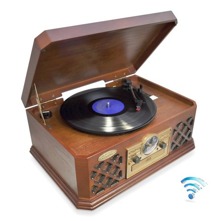 PTCD4BT - Bluetooth Vintage Classic-Style Turntable Record Player with CD & Cassette Players, AM/FM Radio, Built-in