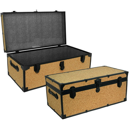 Seward Trunk 30-Inch Stackable Footlocker Trunk, Cork (Tack Trunk)
