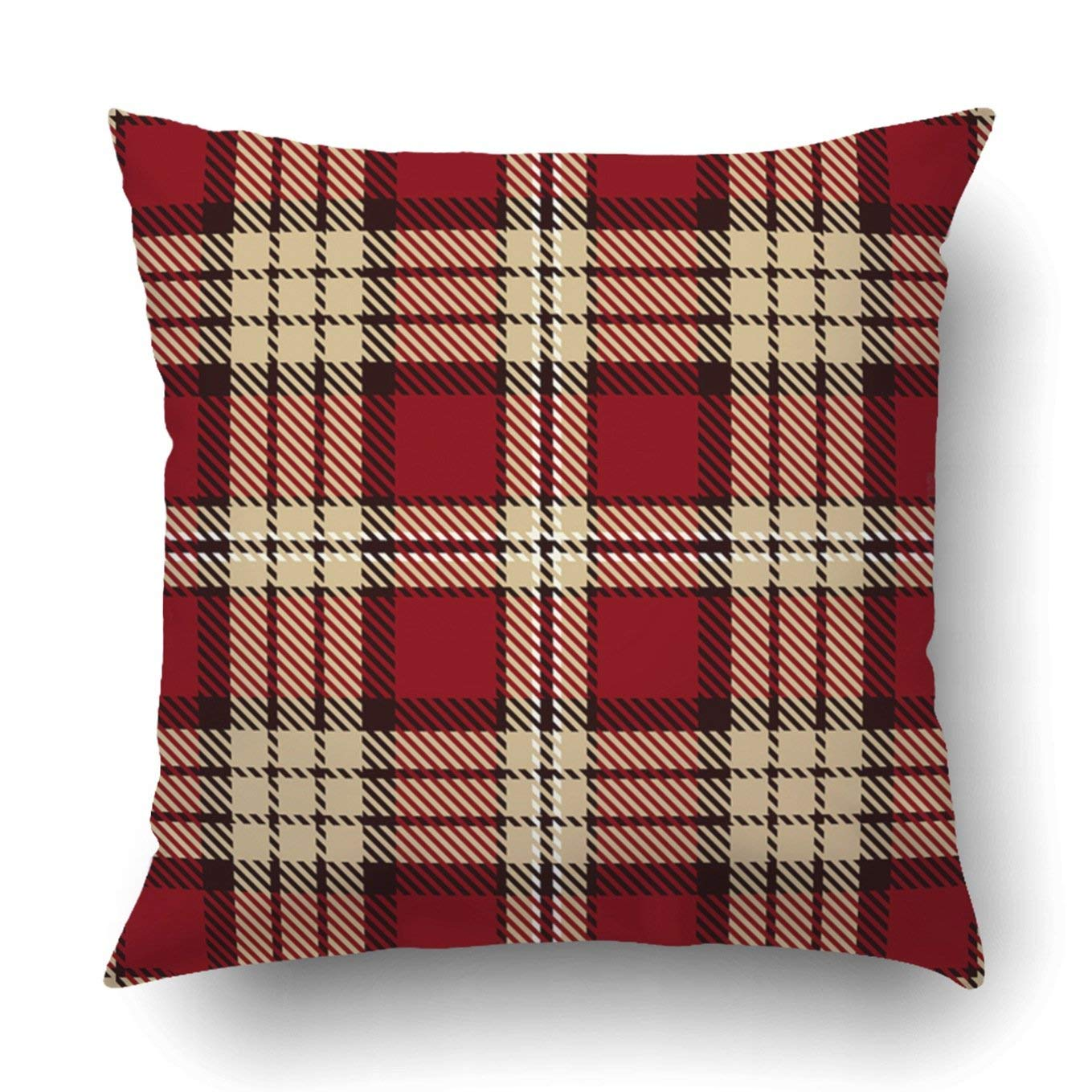 WOPOP Tartan Red Black Camel Beige and White Plaid Tartan Trendy Tiles Pillowcase Throw Pillow Cover Case 16x16 inches