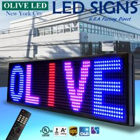 """OLIVE LED Sign 3Color RBP 19""""x85"""" IR Programmable Scroll. Message Display EMC"""