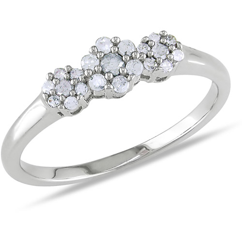 Miabella 1/4 CT TDW Flower-Shaped Diamond Ring in Sterling Silver
