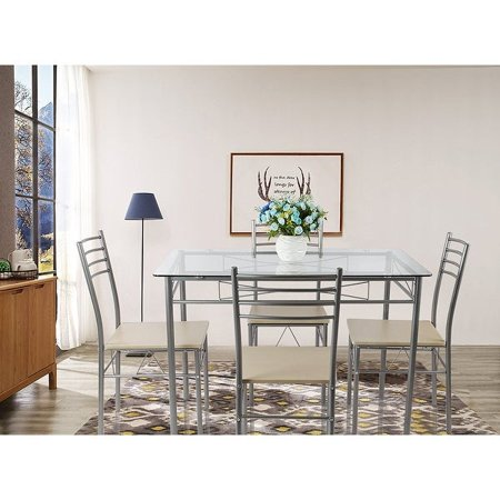 Vecelo Dining Set for 4 Rectangular Counter Height Table Glass Top with 4 Chairs Metal Silver ()