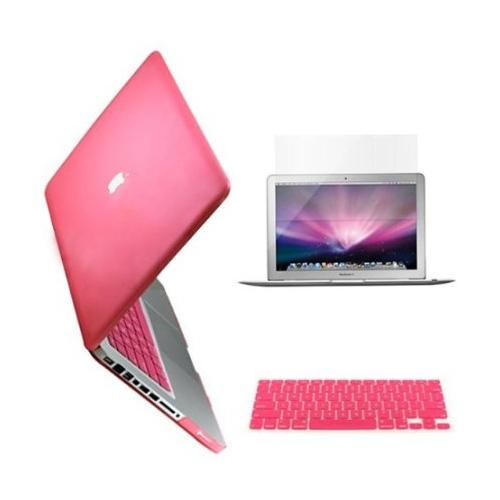 "AGPtek 3 in 1 Pink Rubberized Hard case laptop shell For apple Macbook Pro 13 13.3"" A1278 +Keyboard Skin + Screen cover"