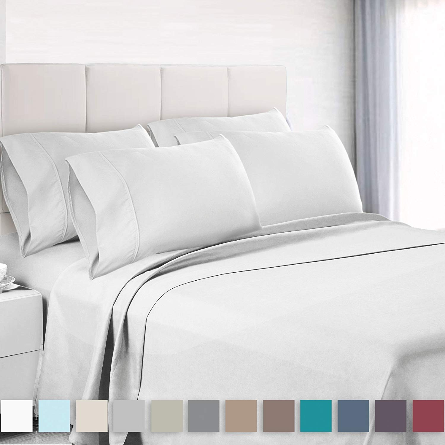 Solid Silk Wrap Around Fitted Sheet Cover Double//Queen//King Size Bedding Soft