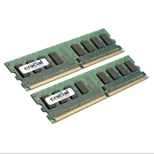 Crucial 2GB Kit (1GBx2) DDR2 PC2-5300 Unbuffered Non-ECC 1.8V 128Megx64 Memory