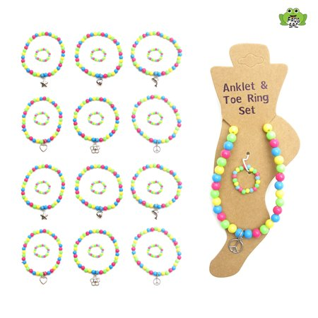 Forgsac Set-12 Multi Colored Beaded Anklet & Toe Ring with Silver Charms ()