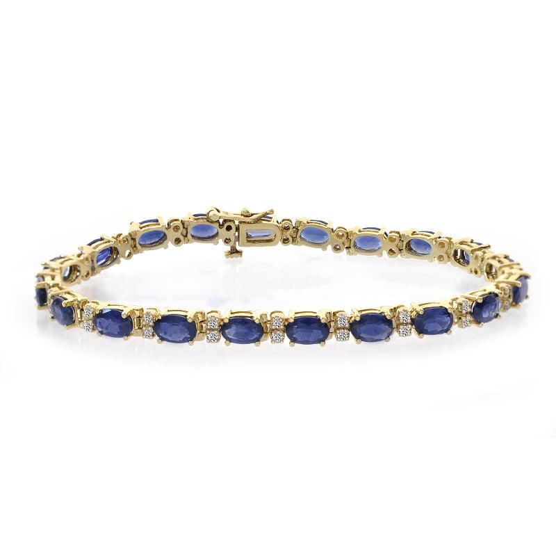 0.40 Carat Diamond and 11.00 Carat Sapphire 14k Yellow Gold Tennis Bracelet by